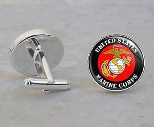 USMC Marine Corps Sterling Silver Cufflinks