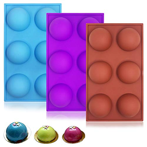 3 Pack Silicone Round Mold,YuCool Half Round Silicone Molds with 6-Cavity for Cake Decoration Bread Chocolate Jelly Ice Cube-Purple,Brick Red,Blue