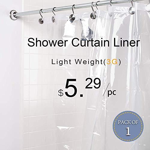 LOVTEX PEVA Shower Curtain Liner - 72x72 Light Weight 3G Clear Liner Water Repellent for Bathroom Shower