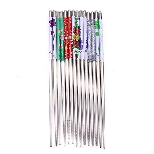 (Monrocco 7 Pairs Stainless Steel Chopsticks Reusable Flower Round Metal Chopsticks for Noodles Rice Sushi Hot Pot)