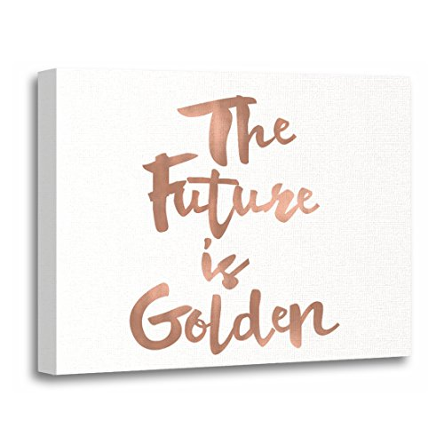 TORASS Canvas Wall Art Print Modern the Future Is Golden Mini Faux Gold Quote Artwork for Home Decor 20
