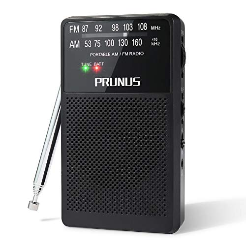 PRUNUS A166 AM/FM Radio Portable DSP Transistor Radio with Ultra-Long Copper Antenna, Excellent Reception, Tuning Knob with Signal Indicator. Supports Replaceable Battery (AA) (Black)