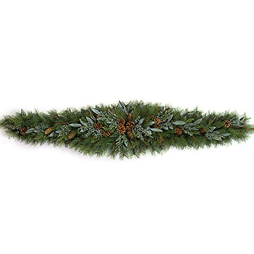 SilksAreForever 6'Wx16 H Artificial Mixed Pine, Bay Leaf, Juniper, Cedar & Pinecone Mantel Swag -Green