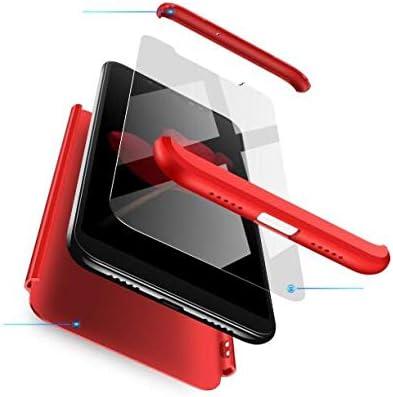 BIKANA Funda Compatible para Xiaomi Redmi 5 Plus Carcasa[2*Cristal Templado] 3 in 1 Slim 360°Full-Protección PC Rígide Textura Mate Antideslizante Anti-caída Caso Cover-Rojo