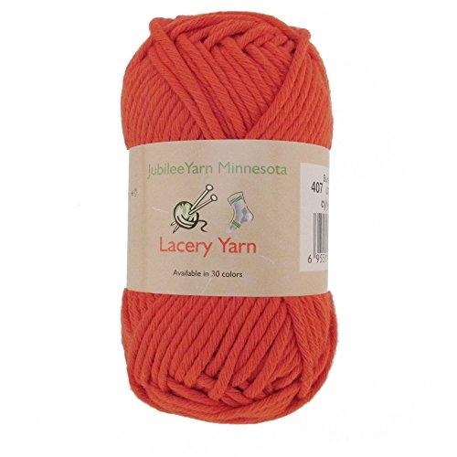 - BambooMN Brand - Lacery Yarn 100g - 4 Skeins - 100% Cotton - Burnt Orange - Color 407