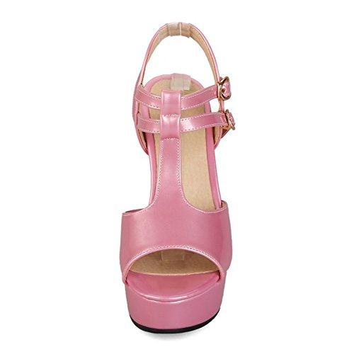 COOLCEPT Mujer Moda Correa en T Sandalias Peep Toe Slingback Plataforma Tacon Ancho Zapatos Rosado
