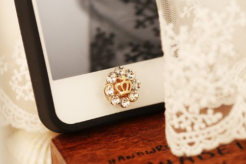 Big Mango Crystal Flower and Crown Iphone Home Return Key Button Sticker / Phone Charms for Apple Iphone 5 Iphone 4 Ipod Touch Ipad Tablet Replace Replacement White ( Acctually the Crown Is Not That Golden)
