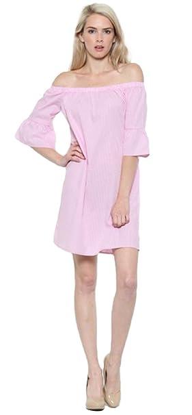 77831f0cd34a Tabeez Women s Off Shoulder Ruffle Bell Sleeve Striped Mini Summer Beach  Dress (Medium