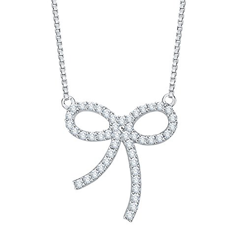 Bow With Diamond Necklace - Diamond Bow Pendant Necklace in 10K White Gold (1/4 cttw) (Color GH, Clarity I2-I3)
