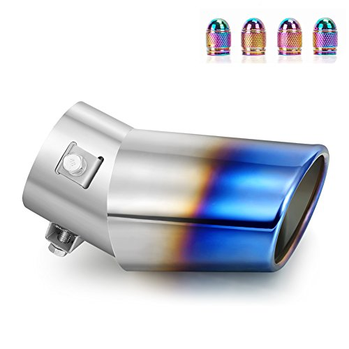 DSYCAR Universal Stainless Steel Car Exhaust Tail Muffler Tip Pipe - Fit pipe Diameter 1 3/4 inch to 2 3/4 inch - Free 4 Valve Stem Caps - (Large Curved:6.3'' X 4'') by DSYCAR