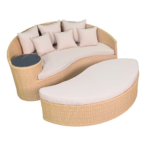 Vakker Patio Rattan Wicker Sofa, Round with 3.2 inch Cushions and 6 Pieces Pillows, Glass Table, UV Weather Rust Resistant for Outdoor and Garden (Beige) (Sofa Glass Round)