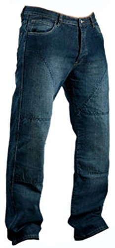 Juicy Trerdz Men's Denim Motorcycle Motorbike Sports Jeans with Aramid Protection Lining Blue W38 x L30