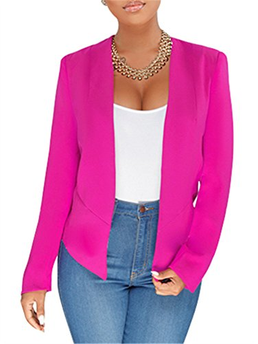 GOBLES Women's Casual Long Sleeve Solid Work Suit Club Party Blazer Jacket Rose by GOBLES (Image #2)
