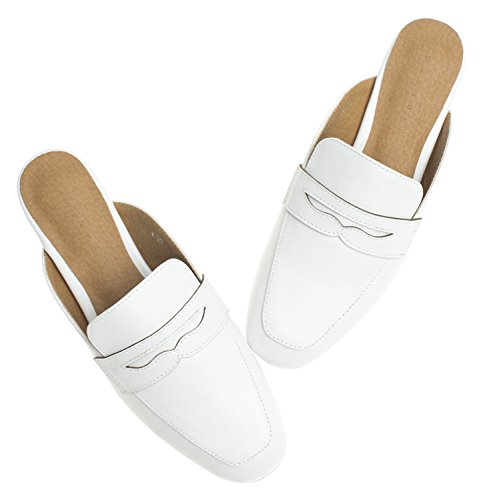 Annakastle Womens Penny Strap Backless Slip On Mocassino Flat Mule No Fur White + Penny Tipo 1