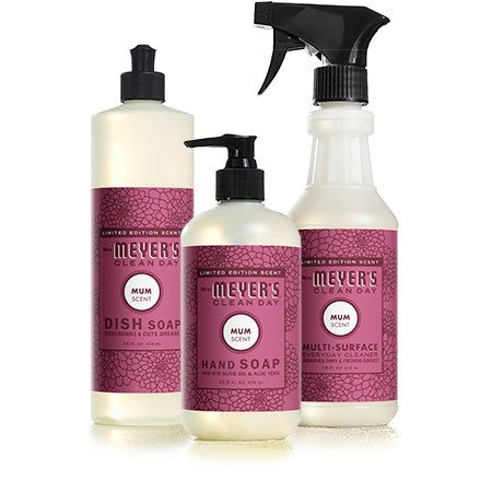 Mrs Meyers Mum Kitchen Basics Bundle: 3 items - (1) Dish Soap, (1) Hand Soap, (1) Everyday Cleaner by Mrs. Meyers