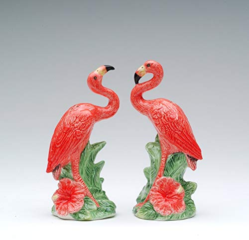 Cosmos Gifts 48512 Fine Ceramic Hand Painted Pink Red Flamingo Salt and Pepper Shakers Set, 4