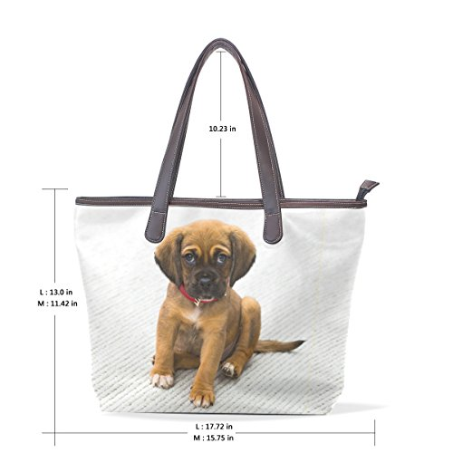 Coosun Damen Unique Design Tier Hund Print Pu Leder Große Einkaufstasche Griff Schultertasche Einkaufstaschen Casual Bags Handtasche für Mädchen