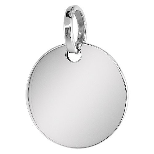 Sterling Silver Round Disc Pendant Engraveable Handmade 7/8 inch long