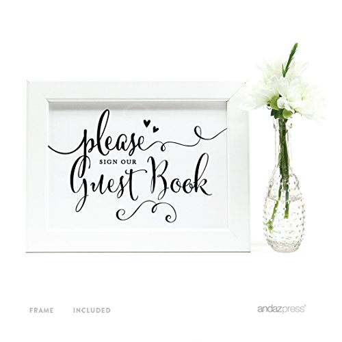 Andaz Press Wedding Framed Party Signs, Formal Black and White, 5x7-inch, Please Sign our Guestbook, 1-Pack, Includes Frame