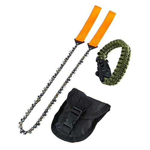 Yaegoo Survival Pocket Chainsaw Hand Saw Chain 3X Faster-33 Serrated 24 inch Hand Saw Chain with Orange Straps for Wood Cutting Hiking Camping Gear with Survival Bracelet Whistle Wristband