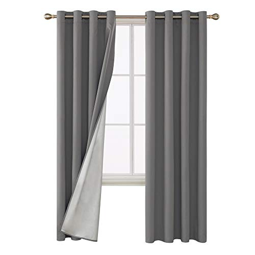 Deconovo Blackout Curtains Thermal Insulated Energy Efficient Grommet Top Decorative Drapery Panels with Silver Coating Back for Baby Bedroom 52W x 84L Inch Light Grey 2 Panels ()