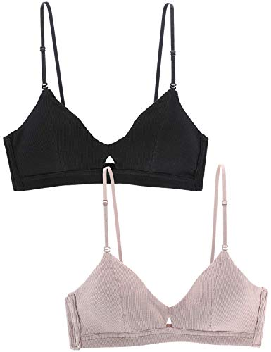 Peachat Bralettes for Women Cotton Bra Thread Keyhole V Neck Bralette Adjustable Straps Hook Eye Removable Padded Wire Free (2 Pack(Black, Fairy Tale), ()