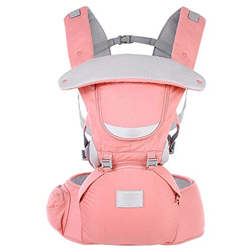 rier 3 in 1 Adjustable Hip Seat Newborn Waist Stool Baby Carrier Infant Sling Backpack,Orange Pink ()