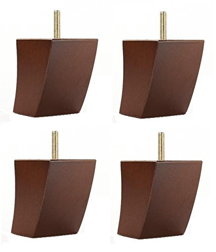 3'' Curved Tapered Walnut Sofa/Couch/Chair Furniture Wood Legs [5/16''] - Set of 4