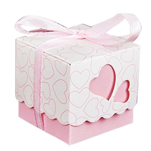 KAIL DIY Love Heart Candy Gift Boxes Wedding Bridal Favor Wedding Party Decor Kit 50pcs (Wedding Card Holder Box Red)