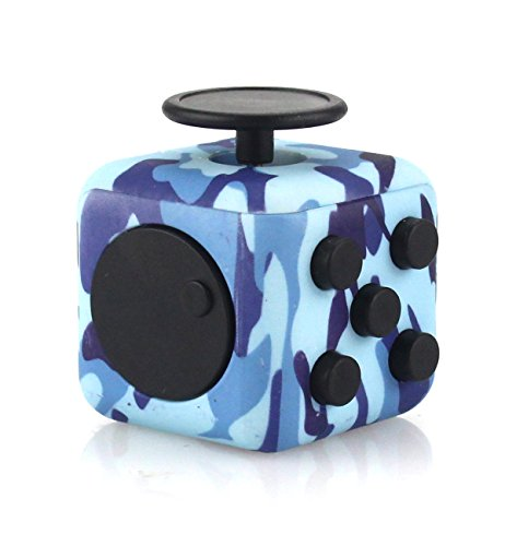 Fidget Cube Relieve Stress Anxiety Depression Finger Toys for Children and Adults Work School Home Air Force Blue
