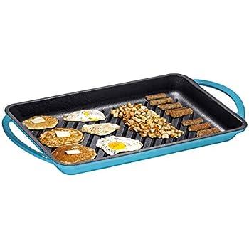 Enameled Cast-Iron Rectangular Grill Pan, Loop Handles, Turquoise 9.5
