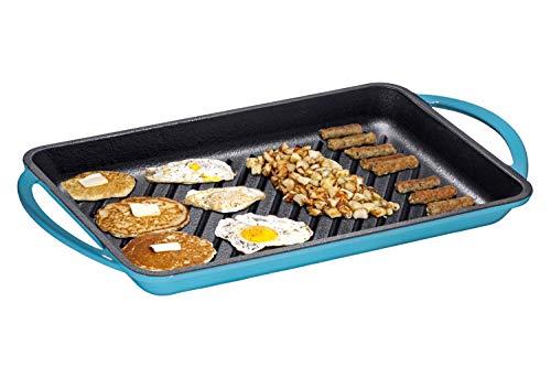 - Enameled Cast-Iron Rectangular Grill Pan, Loop Handles, Turquoise 9.5