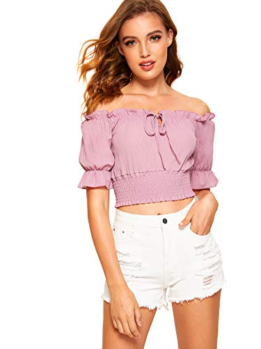 Front Strapless Off Shoulder Ruffle Short Sleeve Blouse Crop Top Pink Large ()