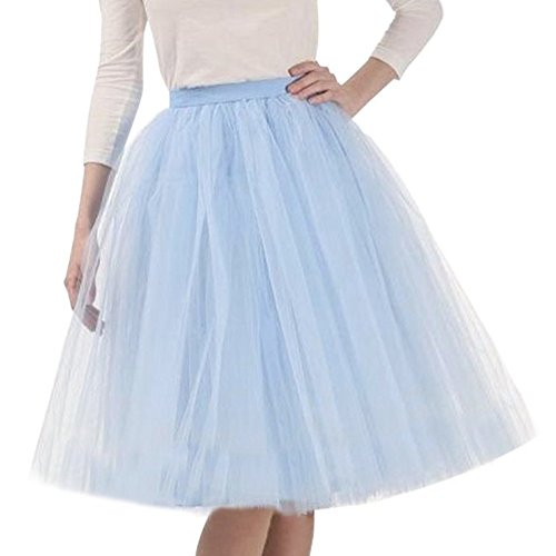 Riveroy Women's Vintage A-Line 5 Layered Petticoat Swing Tulle Tutu Skirt Sky Blue ()