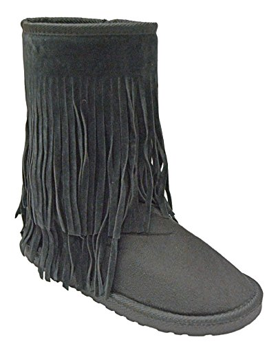 Shop Pretty Girl Womens Boots Winter Faux Fur Soft Snow Winter With Fringes Moccasin Boots Fringe Tribal Black 5piI36n9w