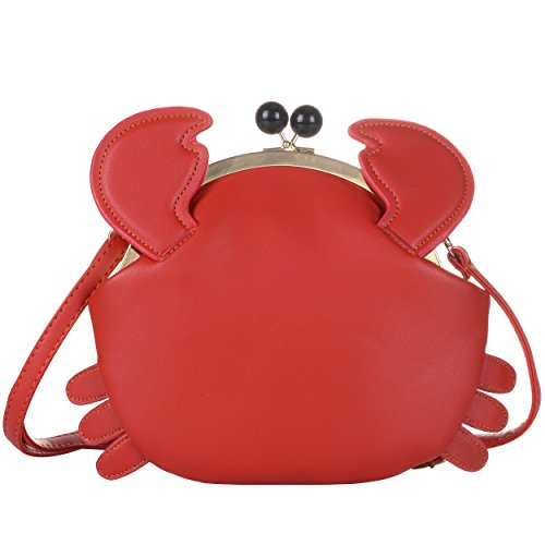 - QZUnique Women's PU Crab Clasp Closure Tote Handbag Cute Satchel Cross Body Shoulder Bag Red