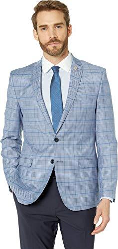 Nick Graham Men's Slim fit Stretch Blazer, Light Blue Bold Plaid, 44R ()