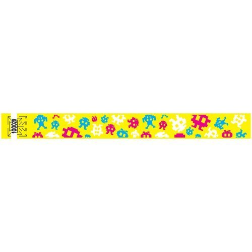 1 Inch Tyvek Wristbands - Video Game - Great for Souvenir - Fun for Teens - Colorful Design - Yellow - 500 Units Per Pack by PDC