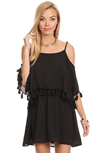 MeshMe Womens Genevieve - Black Tassel Trim Layered Short Sleeve Simple Classic Casual Elegant Versatile Cold Shoulder Dress Small (Halloween Nightclub Events Las Vegas 2017)