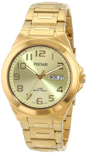 Pulsar Men's PXN152 Functional Gold-Tone Champagne Dial Day Date Watch - Champagne Dial Watch