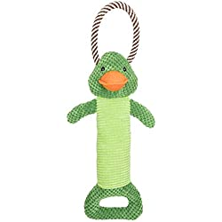 Fluffy Snugs Durable Dog Toy: Double Handle Interactive Stuffed Squeaky Frog Dog Chew Toy, Rope & Plush Handles for Fetch and Play