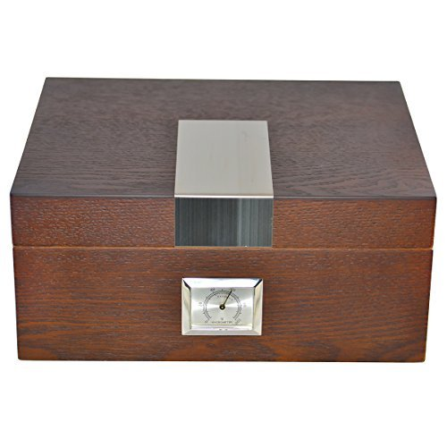 La Cubana Solid Wood Oak Cigar Humidor With Stainless Steel Plate, Holds 30-50 Cigars - Oak Finish Gel