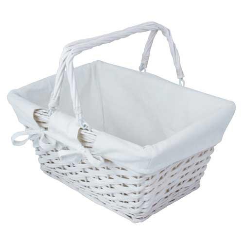 Madras Storage Baskets: White Wicker Basket: Amazon.co.uk