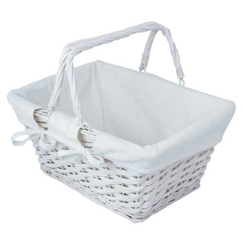 (White Lined Wooden Twisted Wicker Basket With Handles Picnic Basket Shopping by JVL)