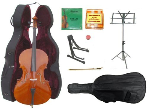 GRACE 1/2 Size Natural Cello with Hard Case + Soft Carrying Bag+Bow+Rosin+2 Sets of Strings+Pitch Pipe+Black Cello Stand+Music Stand+Rosin ~ BY MERANO by Merano
