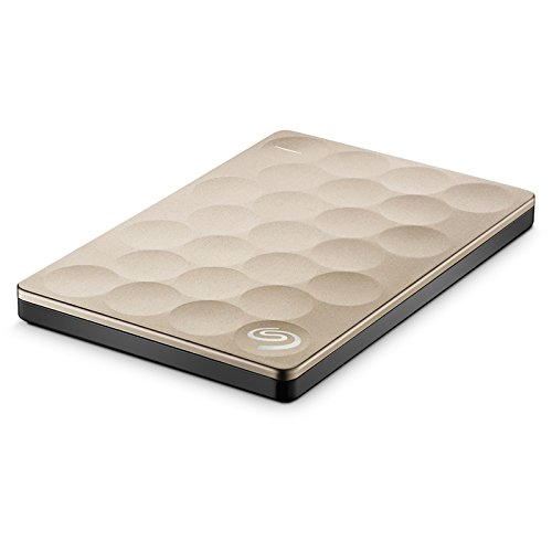 Seagate 2TB Backup Plus Ultra Slim (Gold) USB 3.0 External Hard Drive for PC/Mac with Seagate Rescue - 2 Year Data Recovery Plan
