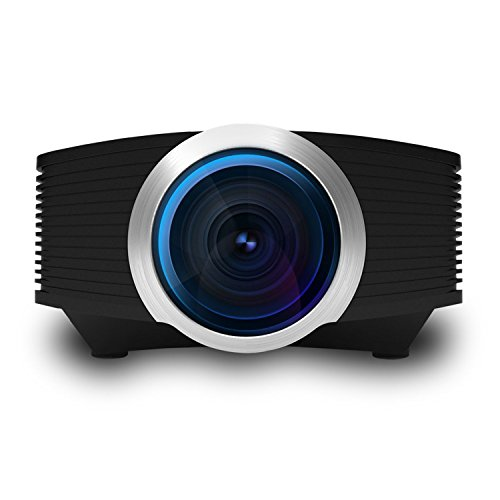 Video Beam Projector, ERISAN Mini Portable Proyetor for Home Movie Video Games, Multimedia w/ HDMI USB Micro-SD VGA Ports