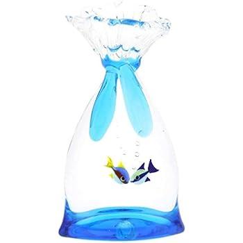 GlassOfVenice Murano Glass Aquarium Bag with Two Tropical Fish