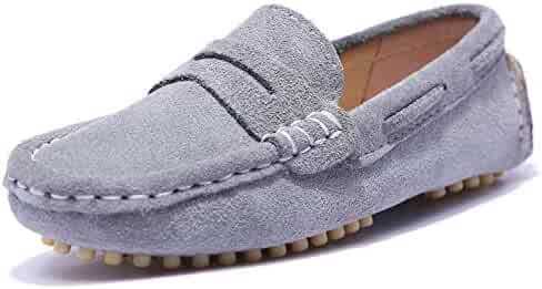ce835803c3a UBELLA Boy s Slip-On Suede Leather Loafers Casual Flat Comfort Boat Dress  Shoes (Toddler