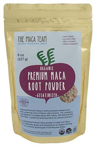 Certifié bio Premium gélatinisé Maca en poudre - récolte incroyablement puissant, frais, du Pérou, commerce équitable, sans OGM, Gluten libre, Vegan et pré-cuites, 8 Oz - 25 portions